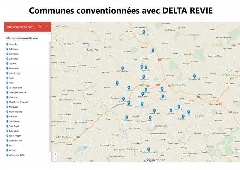 carte communes conventionnées avec delta revie 03